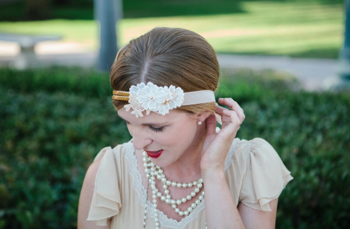 Retro inspired daisy wedding headband