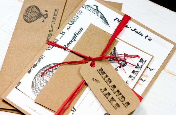 Vintage engraved balloon wedding invitations