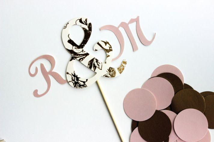 Mauve ivory chocolate monogram wedding cake topper