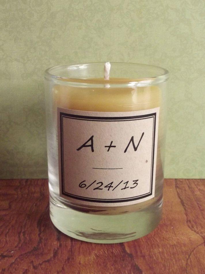 Beeswax wedding candle with custom monogram