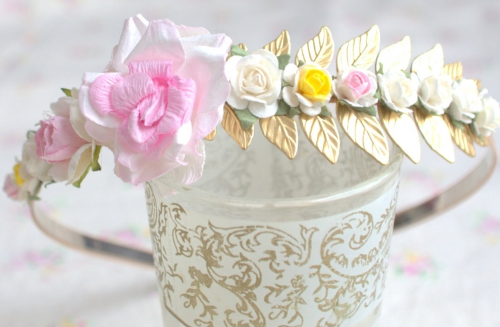 Sweet flower girl headband with flowers and gold leaves