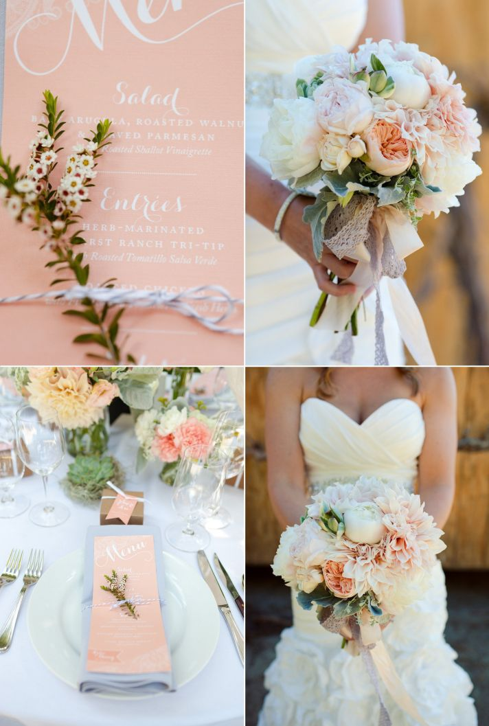 Pastel peach sage Spring wedding high on romance