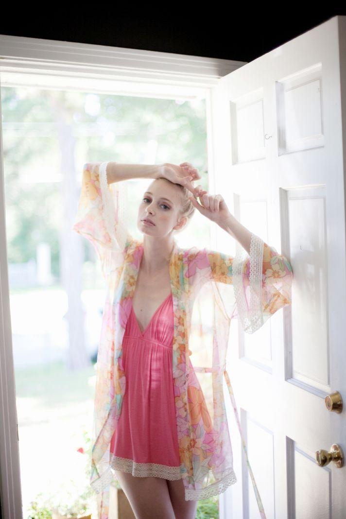 Romantic bridal robe and chemise