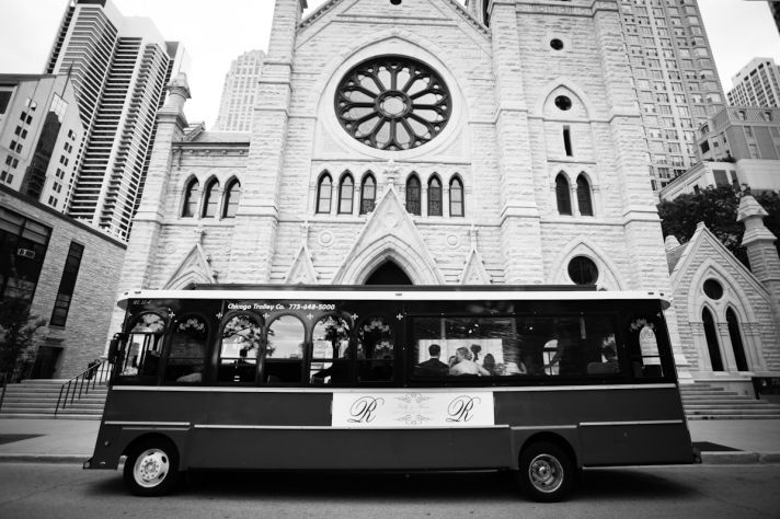 Chicago Trolley leaves church ceremony venue