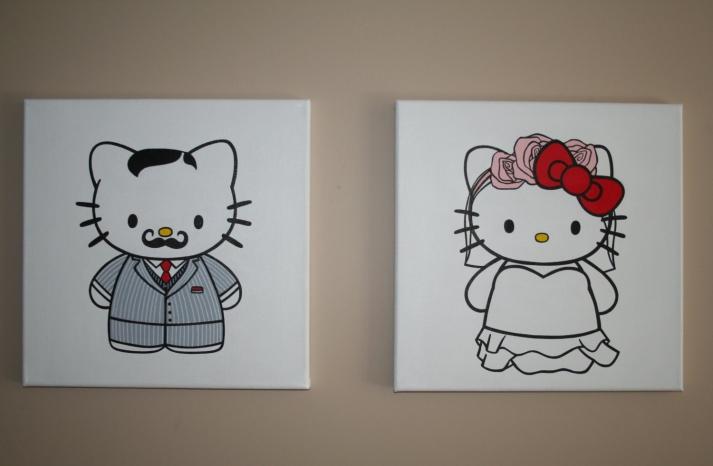 Mr and Mrs Hello Kitty Wedding Art