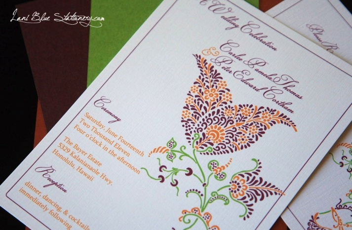 Henna tulip wedding invitation