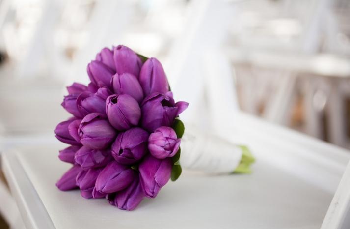 All purple wedding bouquet
