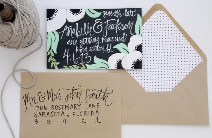 Anemone inspired wedding invitations