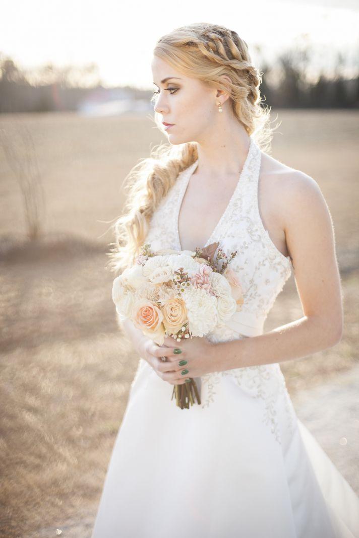 Bridal beauty romantic wedding hair and makeup