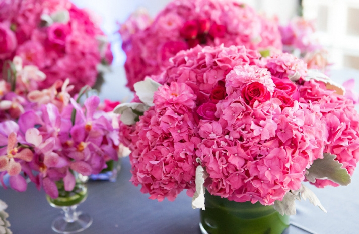 Hot pink hydrangea wedding flowers