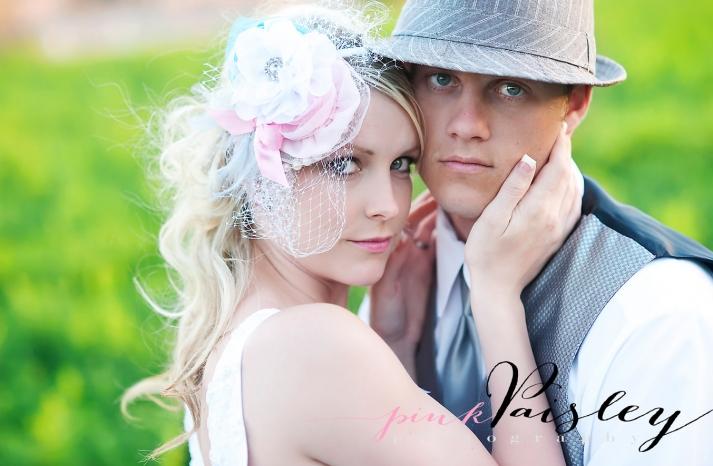 shabby chic wedding veil and hair flowers