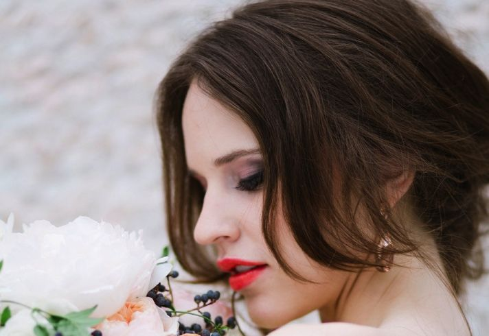 Red orange lips smoky eyes bridal beauty