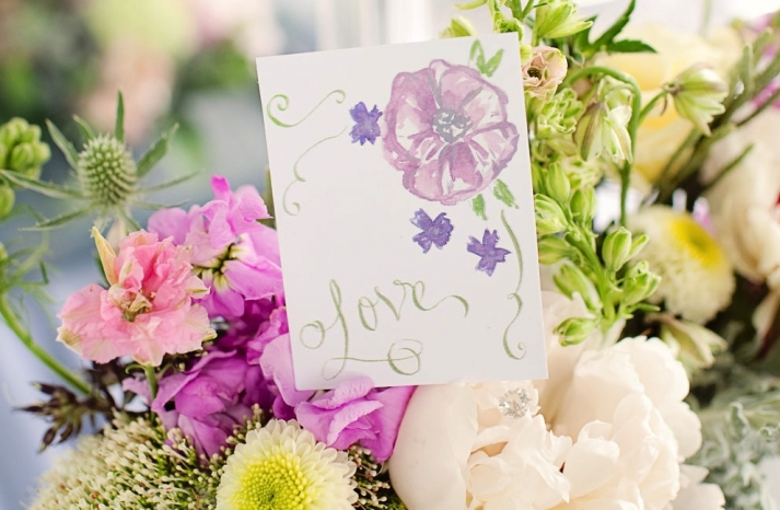 Hand painted wedding finds romantic centerpiece