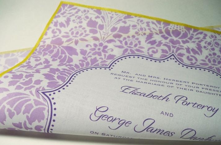 Lavender ivory marigold hankie wedding invitation