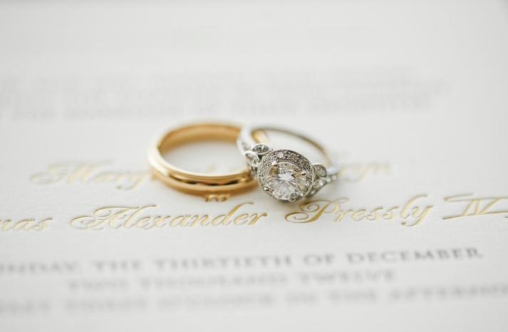 Platinum and gold engagement wedding band shot