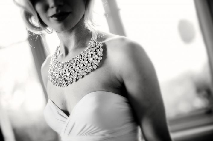 Crystal encrusted statement wedding necklace