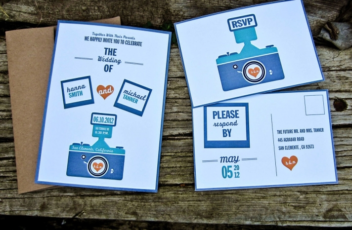 retro camera wedding invitations