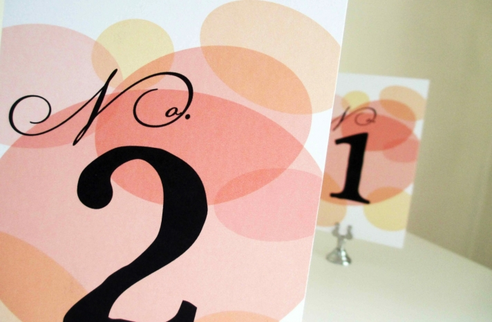 Elegant retro wedding table numbers