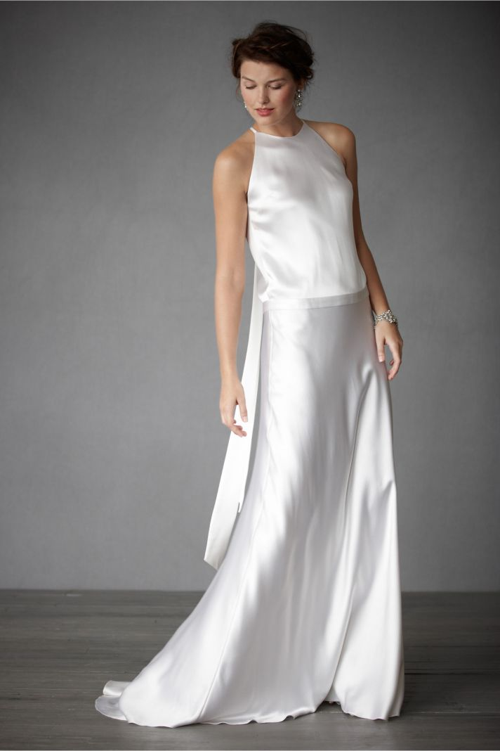 champagne scoop neck wedding dress original