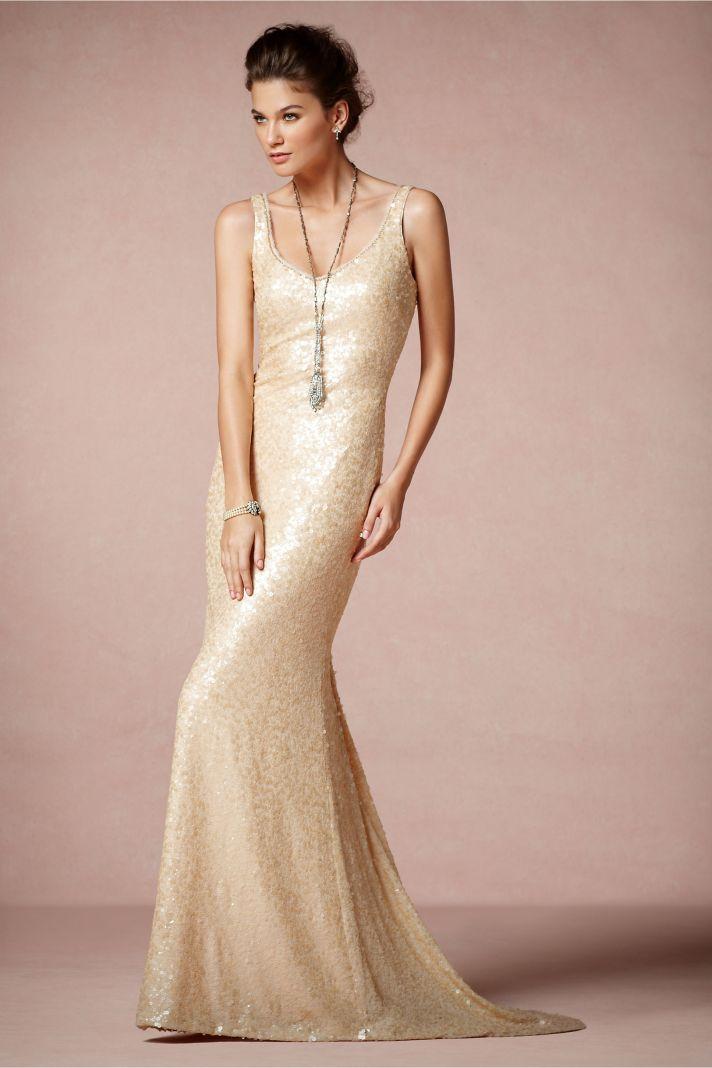 champagne scoop neck wedding dress original