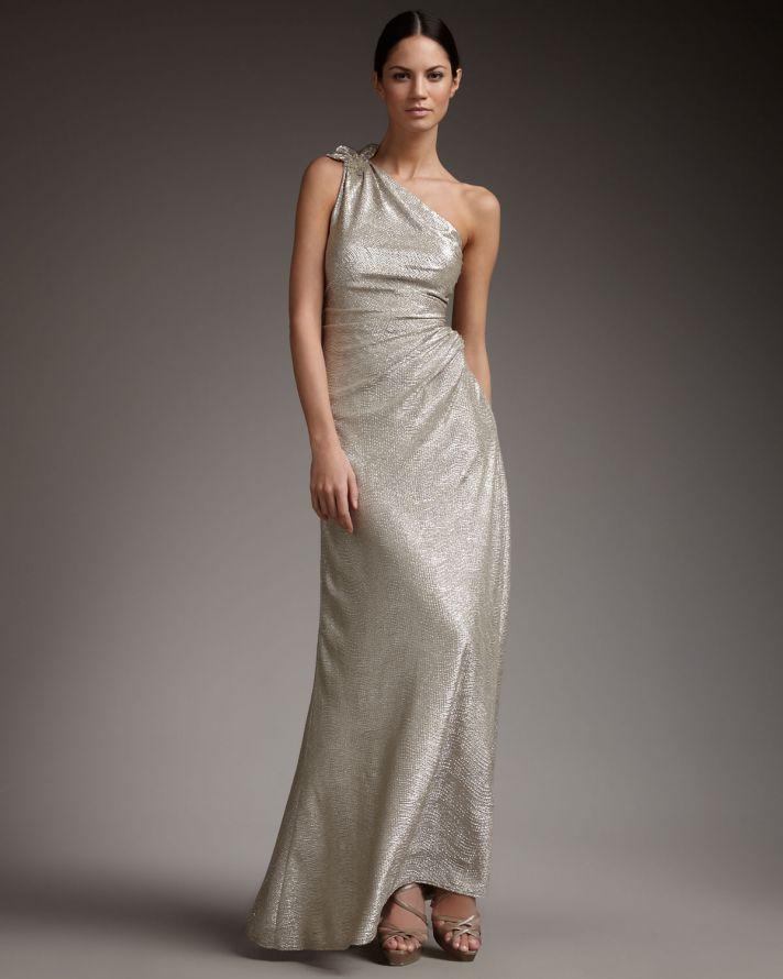 Metallic wedding guest dresses one shoulder long champagne silver
