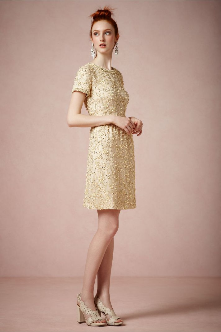 Gold gold bridesmaid dresses short for Antique inspired wedding dresses
