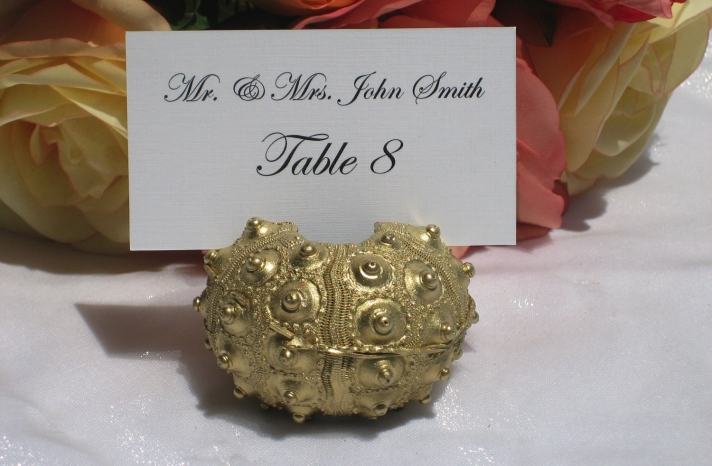 Gold sea urchin wedding table card holder