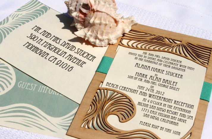 art deco beach wedding invitations