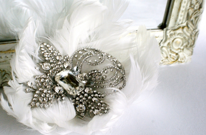 feather and crystal wedding hair accessory