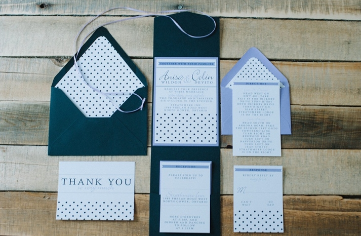 Classic polka dot wedding invites navy white