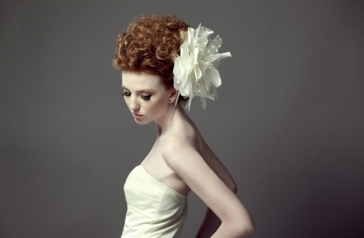 Large wedding flower hairpiece