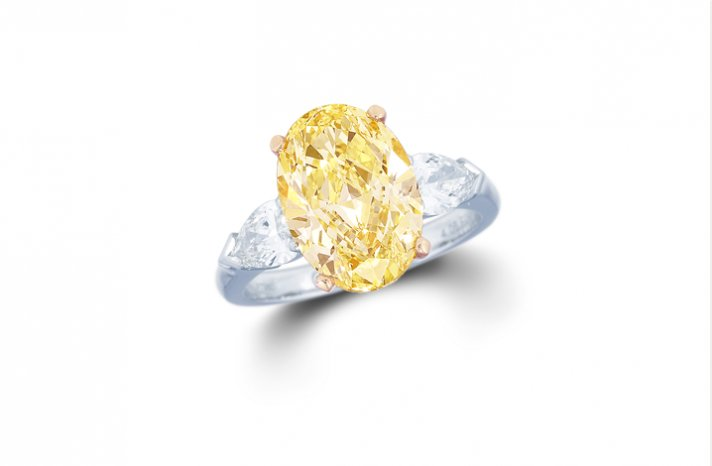 Fancy oval yellow diamond engagement ring 2 5 ct