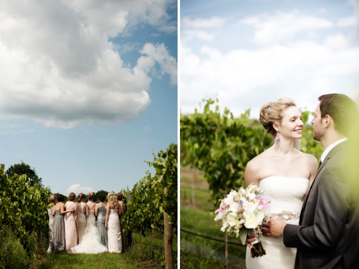 romantic winery wedding in IL mix n match bridesmaids