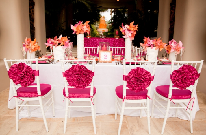 bright fushcia orange wedding table and chairs