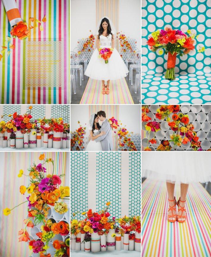 Modern wedding ideas bright flowers bold patterns 2
