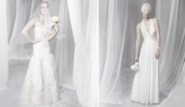 Textured drop waist wedding dress by BCBG