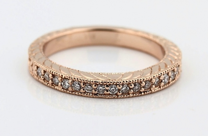 natural diamond rose gold wedding band antique
