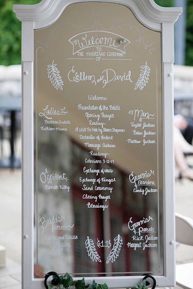 Framed mirror elegant wedding sign