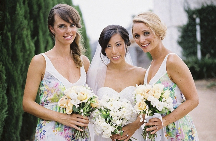 Pastel floral print bridesmaid dresses real wedding inspiration