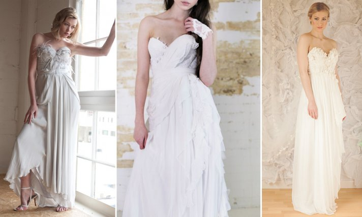 Dove gray romantic wedding dress with feathers