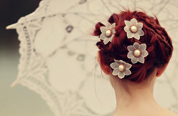 Lace flower wedding hair pins