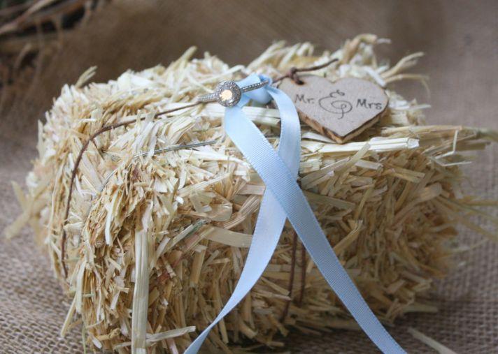 hay bale ring bearer pillow for rustic weddings