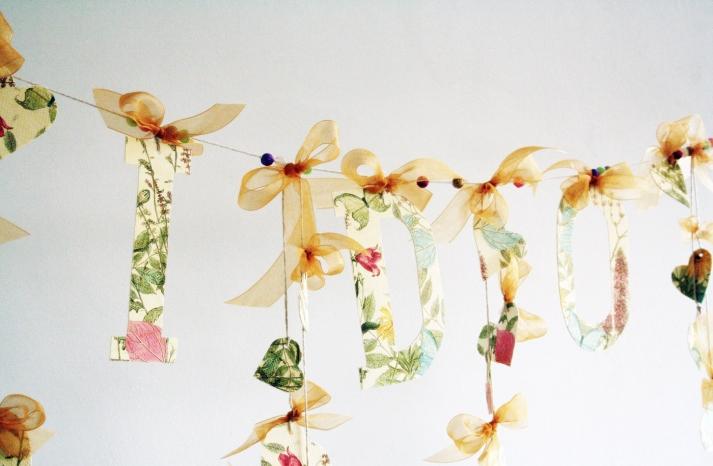 I Do floral hearts wedding garland