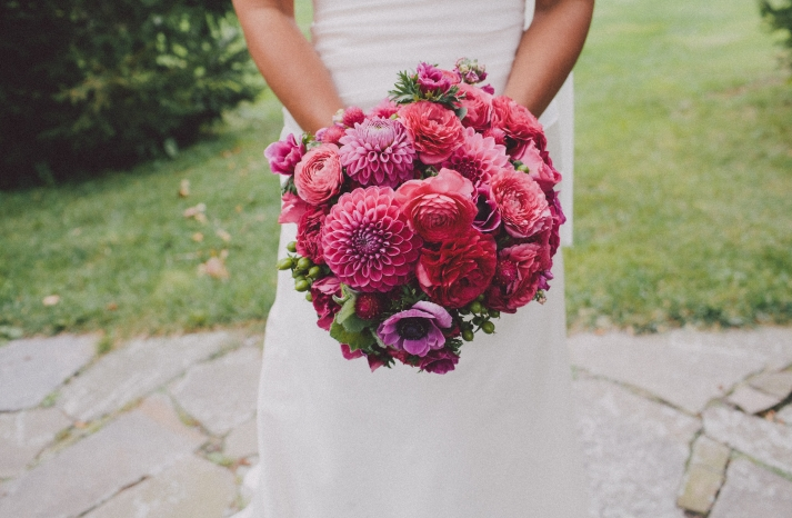 Monochromatic pink wedding bouquet for summer