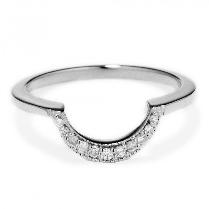 Diamond and Platinum shadow band wedding ring