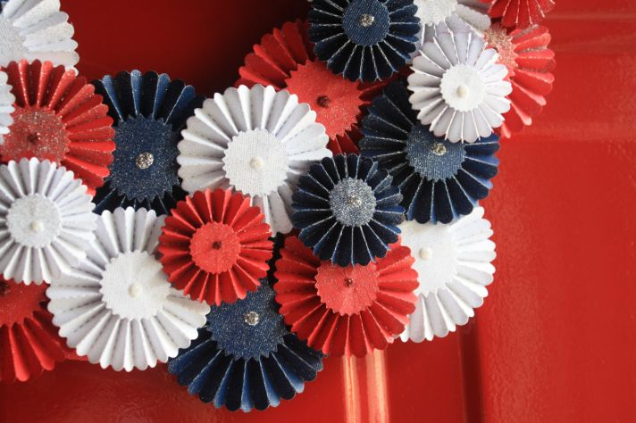 Red white and blue wedding wreath