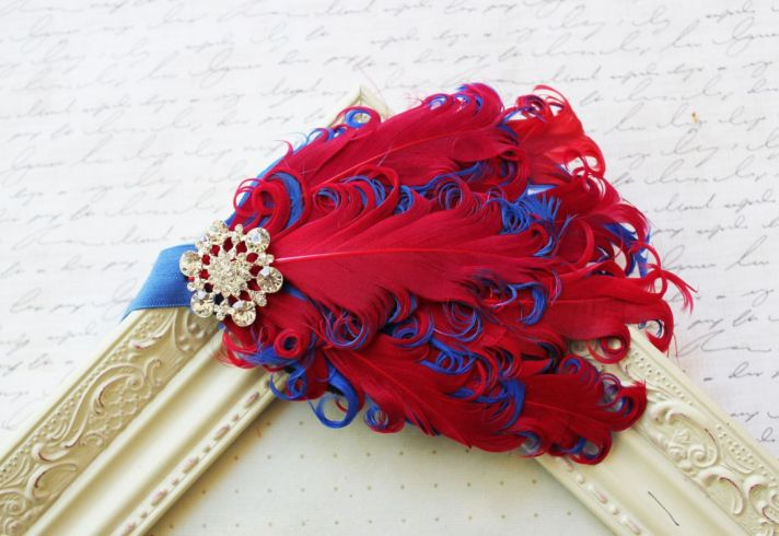 Red and blue feather fascinator for July 4th