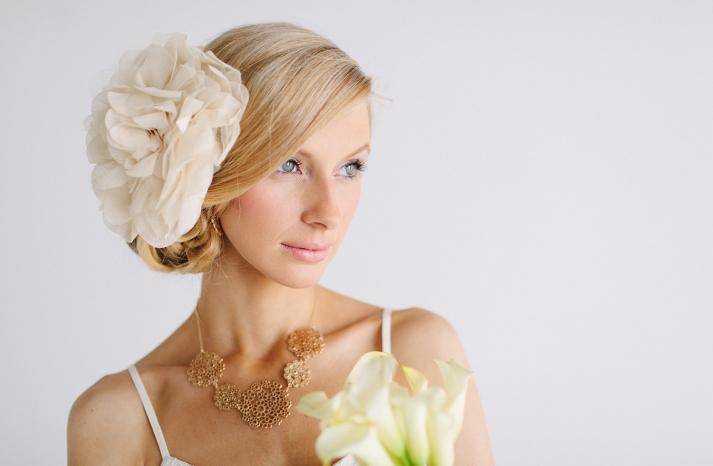 Oversized chiffon wedding hair flower