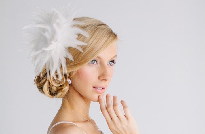 Full feather wedding headpiece