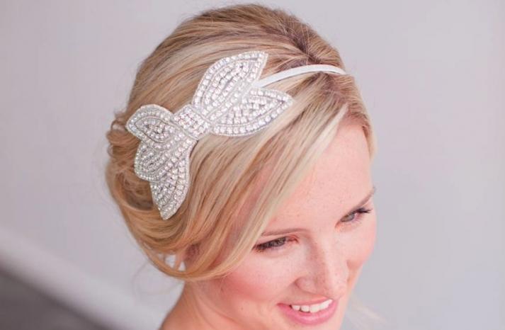 Beaded bow wedding headband